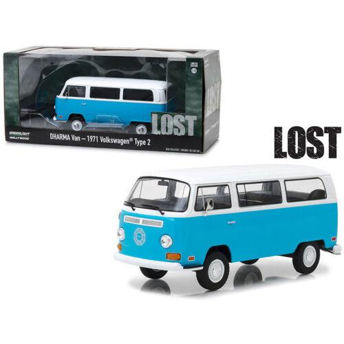 Greenlight 1971 VW Volkswagen Dharma Van Lost TV Series Blue White 1:24 84033