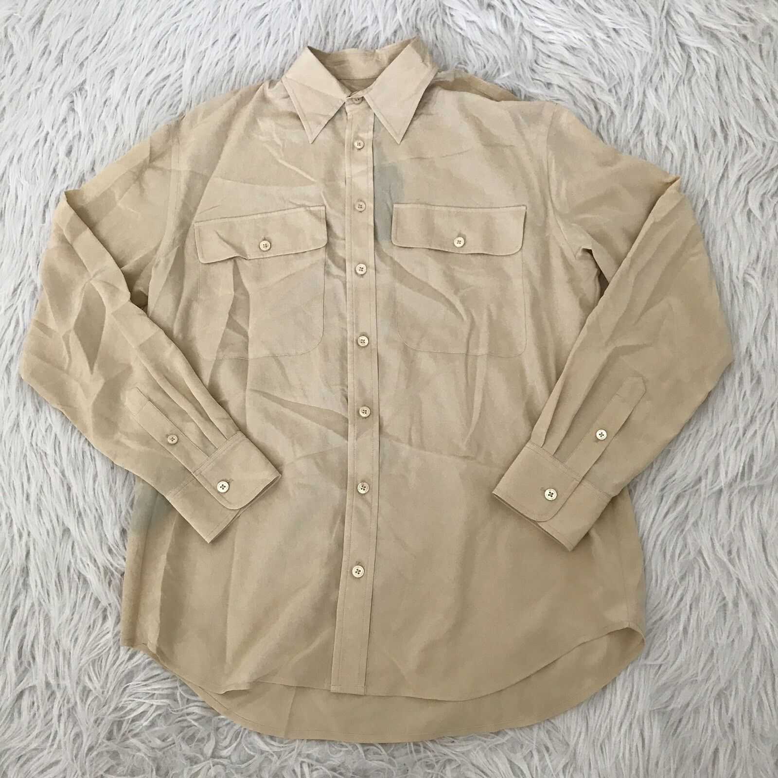 NWT  Ralph Lauren schwarz Label 100% Silk Gold Button Up Blouse Top damen 8