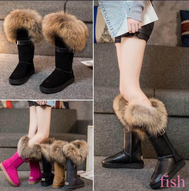 Winter Women Mid Calf Snow Boots Tall Fox fur Fur Lined Suede Lining Skidproof 9