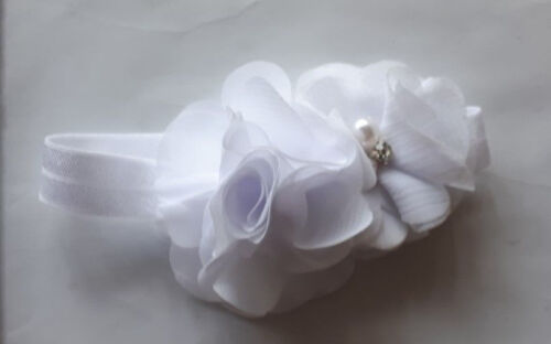 PREEMIE HANDMADE HEADBANDS  PRETTY DOUBLE FLOWER BLING TINY BABE with FOE00000