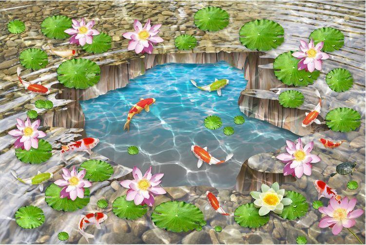 3D water fish flower 25 Floor WallPaper Murals Wall Print Decal 5D AJ WALLPAPER