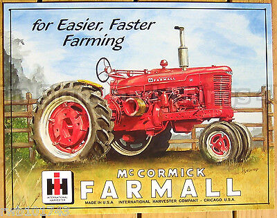Farmall M Tractor TIN SIGN Faster Farming metal art poster farm wall decor 825