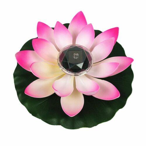 Solar Powered LED Lotus Flower Lamp Water Resistant Night-Light For Garden Pool