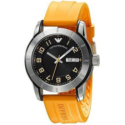Emporio Armani AR5872 Men's Stainless Steel Orange Silicon Strap Watch