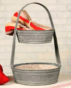 New Primitive French Country Chic Two Tiered Metal Basket K Cup ...