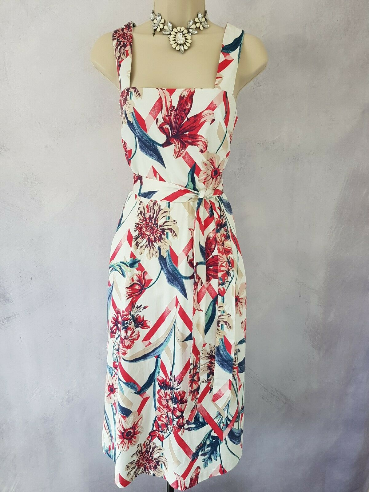MS Collection Mother Of The Bride Dress Floral Printed Straps Belted Cotton 12