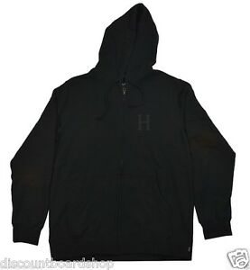 Huf Classic H Zip Up Black Cotton Blend Front Pockets Men S Hoodie