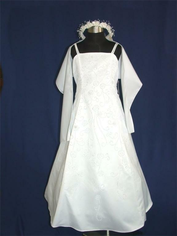 Pink Princess White A Line First Holy Communion Dress 6-7 Yr + Shawl Made in USA
