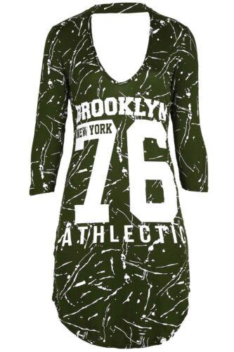 Womens Curved Hem 3//4 Sleeve Brooklyn 76 Choker V Neck Ladies Mini T Shirt Dress