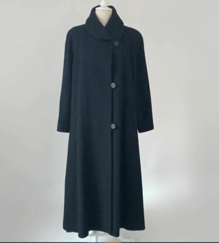Vintage Black Wool Maxi Coat, Oversized Winter Coa