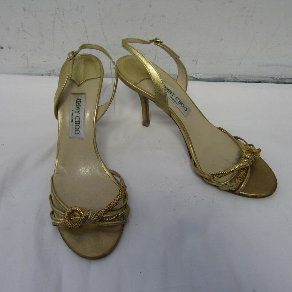 JIMMY CHOO gold LEATHER STRAPPY SLINGBACKS SZ 40.5