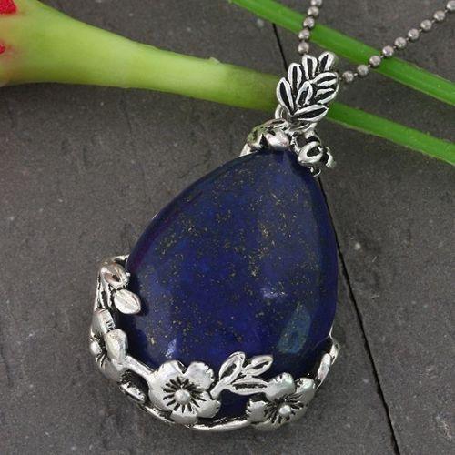 Blue Lapis Lazuli Natural Gemstone Silver Plated Jewelry Pendant