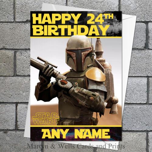 Personnalisé 5x7 pouces plus enveloppe. Star Wars Carte D/'anniversaire: Boba Fett