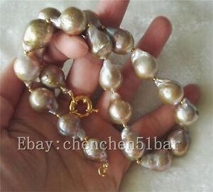 Grosse-13-16mm-bunte-lila-Edison-Barock-Perlenkette-17-Zoll