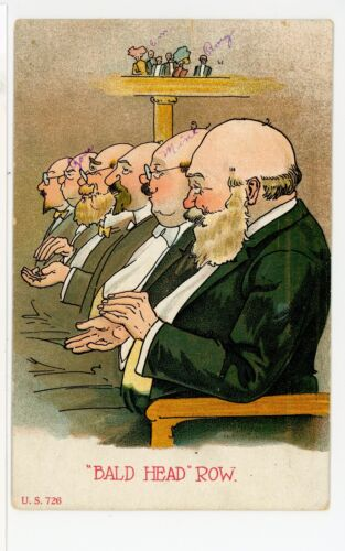 """Bald Head Row"" Antique BALD HUMOR Facial Hair PC ca. 1910"