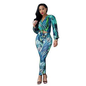 b7a1f2bbb87 Women Elegant 2pcs Green Leaf Print Jumpsuit Knot Crop Top Skinny ...