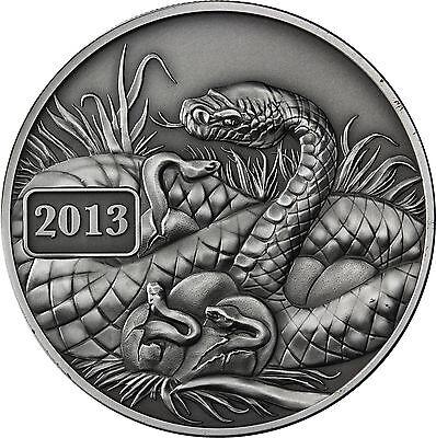 """Tokelau 5 Dollars 2013 """"Jahr der Schlange - Year of the Snake"""" Antique Finish"""