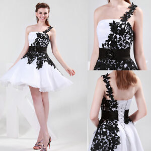 Black-White-Prom-Bridal-Gown-Bridesmaid-Evening-Party-Cocktail-Formal-Ball-Dress