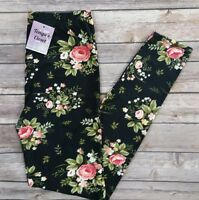 Plus Size Elegant Floral Leggings Flowers Rose Printed Soft Curvy 10-18