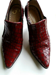 Little-Shoe-Shop-Dark-Red-Snakeskin-Effect-Leather-Shoes-Size-1-Petite