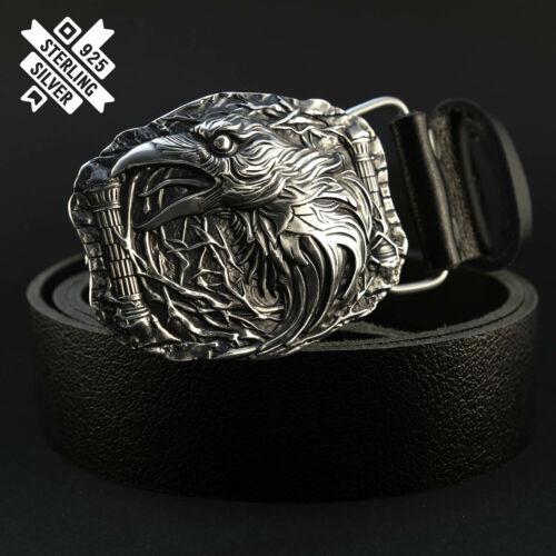 """Crow belt buckle Belt buckle """"Raven"""" 925 Sterling Silver; Bird on the buckle;"""