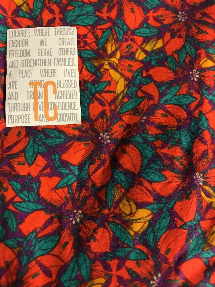 669dbe20a23f73 Lularoe TC Tall & Curvy Leggings Unicorn Red Green Floral New colorful New