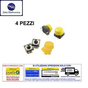 4PZ-PULSANTE-MICRO-INTERRUTTORE-DA-PCB-SWITCH-12-x-12-4-PIN-E-CAPPUCCI-GIALLI