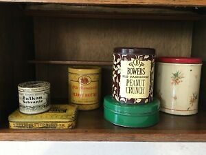 Antique or collectible pantry tins set of 6