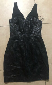 Women's Guess Sleeveless Cocktail Dress, Black Metallic, Night Out, Size 8