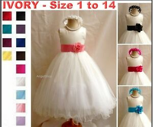 New-Ivory-Pageant-Birthday-Communion-Flower-Girl-Dress-Tulle-Dress-Size-1-to-14