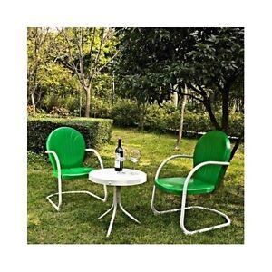 3 PC Green Vintage Patio Set Metal Retro 50s Style Outdoor Lawn ...