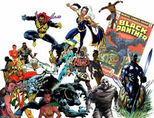 AFRICAN-AMERICAN-lot-of-comic-books-BLACK-PANTHER-CAGE-STORM-CYBORG-FALCON