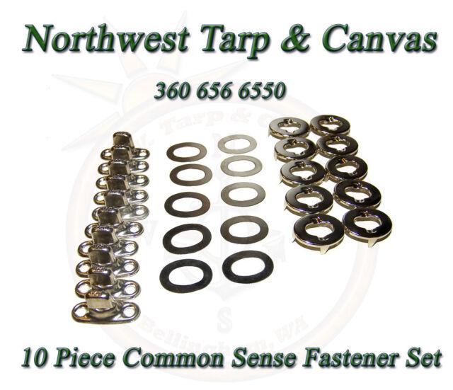 Common Sense Fasteners,  Marine Canvas Eyelet & Stud, Turn Button, 10 Piece