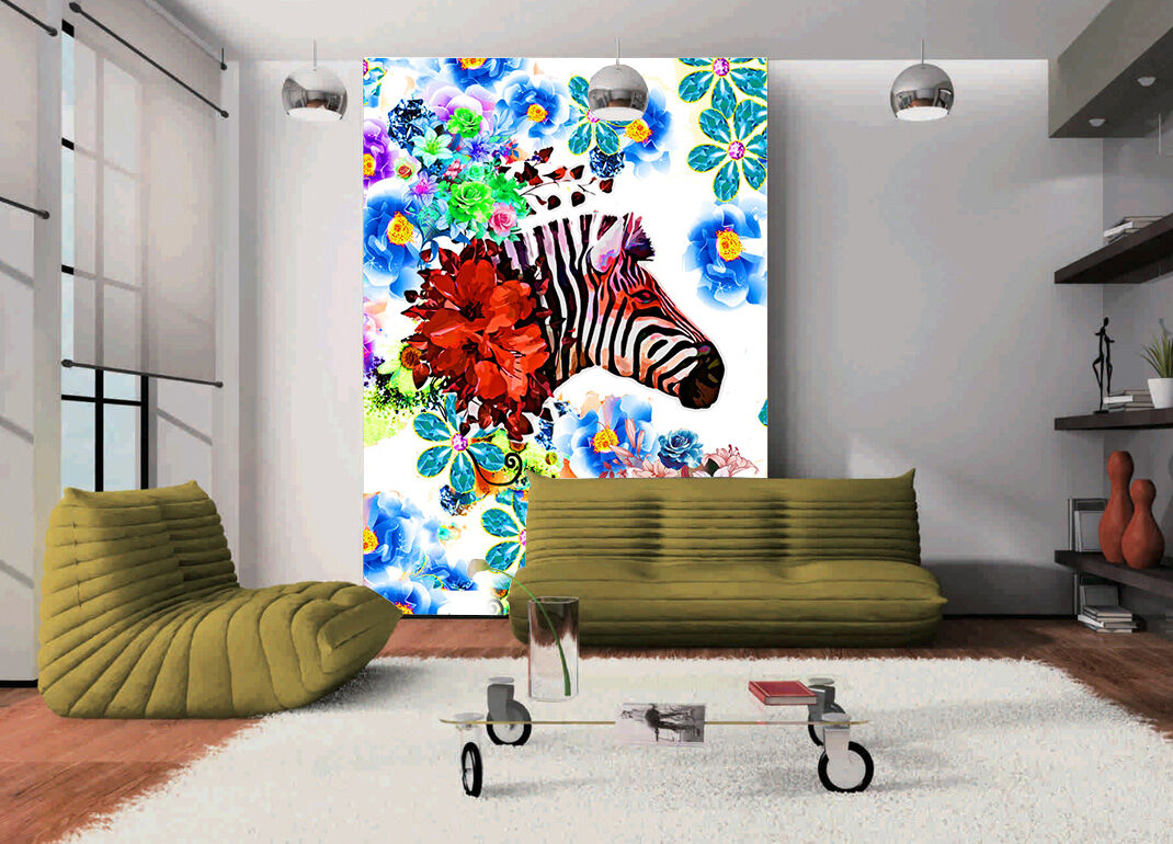 3D Flowers zebra Wall Paper wall Print Decal Wall Deco Indoor wall Mural