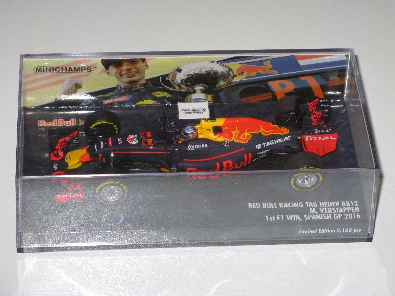 rosso Bull RB12 - Winner Spanish Gp 2016 - 43 Max Verstappen  F1 1 43 - minichamps 0332ec