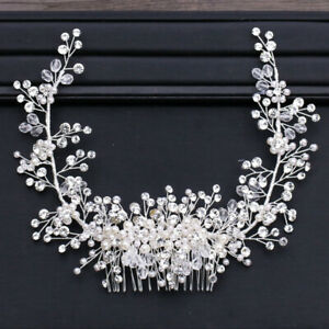 Pearl-Beads-Shiny-Crystal-Tiara-Crown-Hair-Wedding-Accessories-Head-Piece-Bride