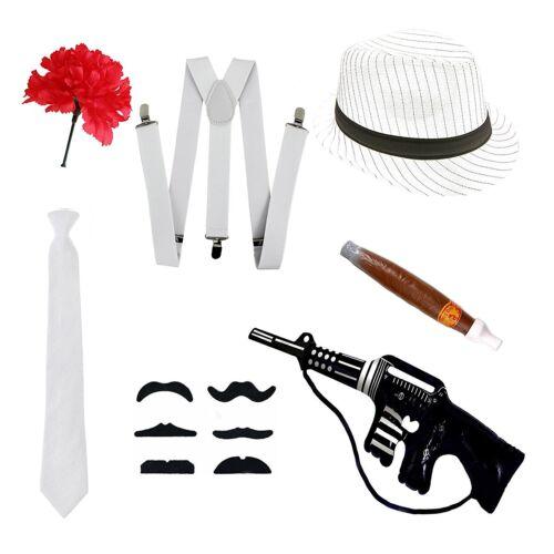 WHITE STRIPES GANGSTER BRACES HAT TIE CIGAR MOUSTACHE TOY GUN ADULT BLACK