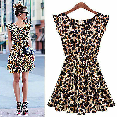 Women Sexy Leopard Casual Evening Cocktail Party Mini Dress Summer Dress Short