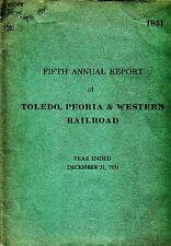 Fifth Annual Report of Toledo, Peoria & Western Railroad 1931 Train RR