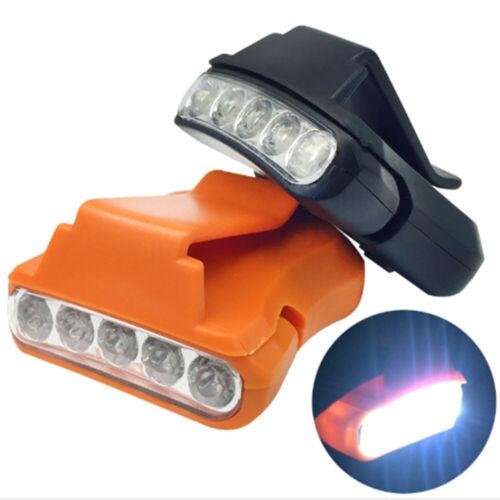5 LED Cap Eaves Clip Light Portable Camping Hiking Headlight Head Torch Lamp