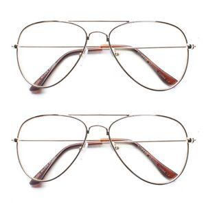 c82ac629579bd Details about Classic Vintage Retro PILOT Clear Lens Gold Metal Frame  Eyeglasses Glasses m