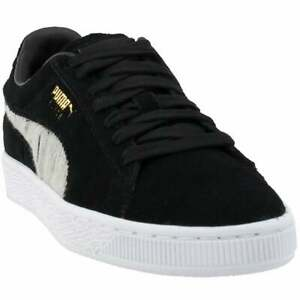 Puma-Suede-Ripped-Denim-Lace-Up-Mens-Sneakers-Shoes-Casual-Black