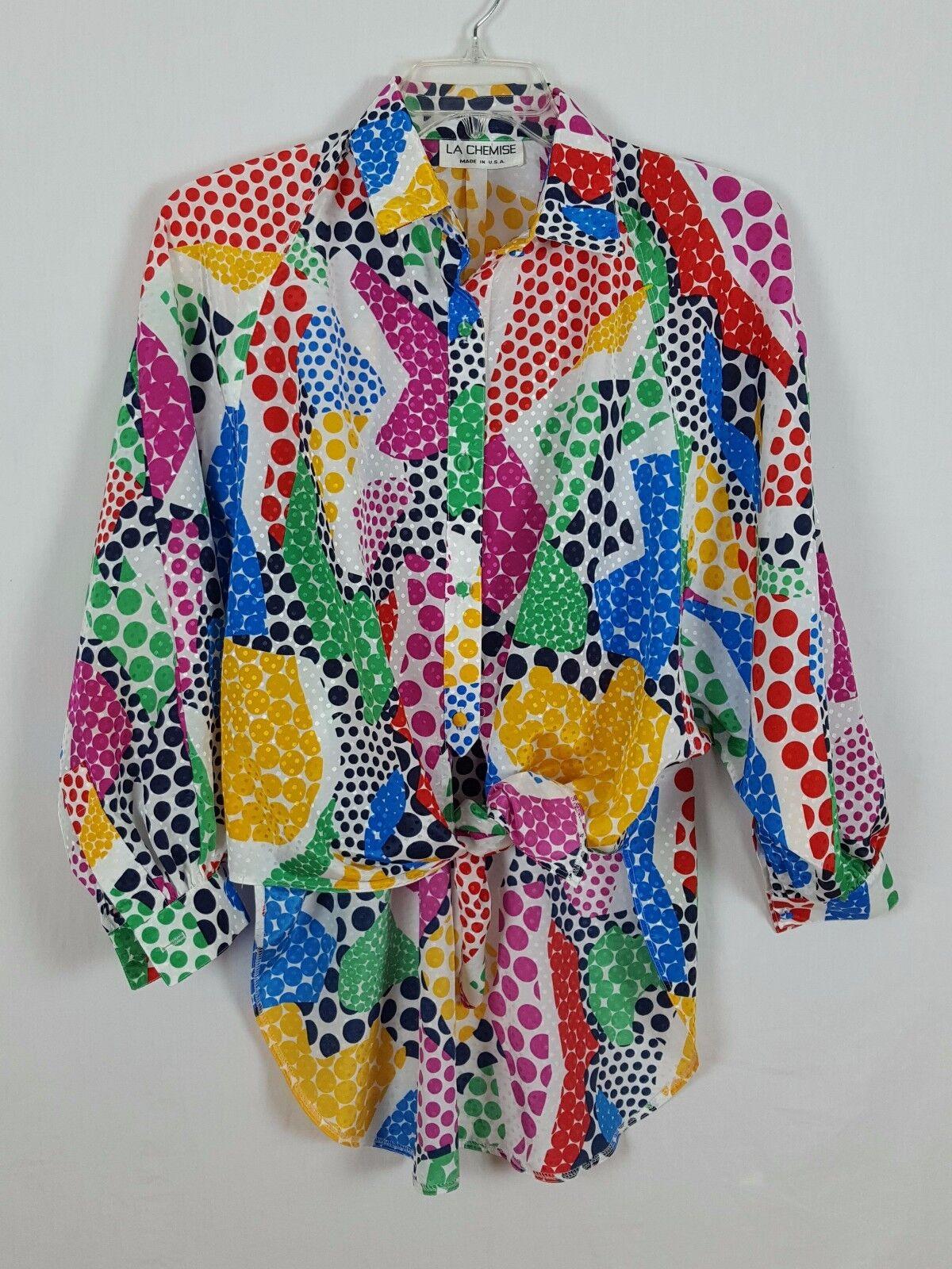 Vintage LA CHEMISE Farbeful batwing sleeves Long tail blouse Größe M