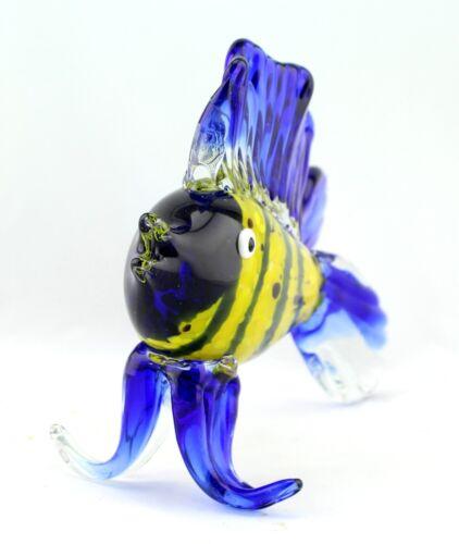 "10/"" Large Hand Blown Glass Art Style Fish Blue Yellow Figurine Sculpture"