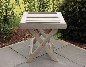Sgabello pieghevole 55409 grigio lavato legno di acacia nuovo ebay