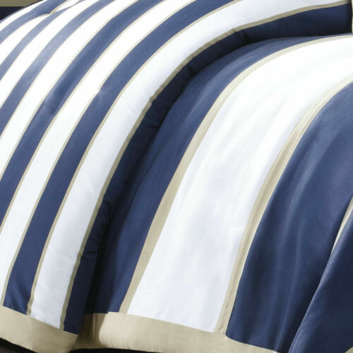 NEW! COZY SOFT BLUE TAN BEIGE TEAL WHITE SPORTY STRIPE BOYS CABIN COMFORTER SET