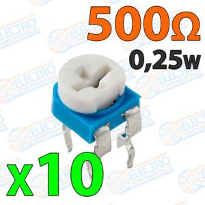 10x Potenciometro 500 Ohm 1 4w 0 25w Horizontal Resistencia Variable Pcb Ebay