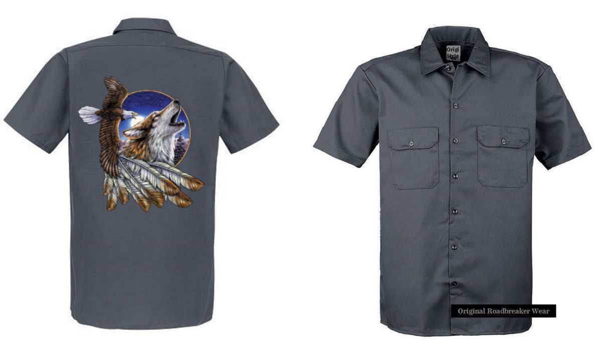 Arbeitnehmer Hemd grau mit einem Tier- & Naturmotiv Modell  Eagle Wolf Feather
