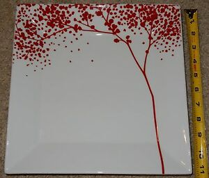 Image is loading The-Cellar-Whiteware-Large-Square-Dinner-Plate-Red- & The Cellar Whiteware Large Square Dinner Plate Red Falling Leaves ...