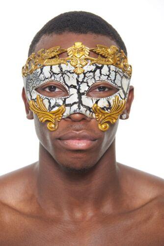 Roman Gladiator Vintage Cracked Venetian Masquerade Mask Gold NEW Unisex